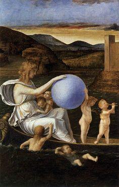 BELLINI, Giovanni Italian painter, Venetian school (b. ca. 1426, Venezia, d. 1516, Venezia)  Four Allegories: Fortune (or Melancholy) c. 1490 Oil on wood, 34 x 22 cm Gallerie dell'Accademia, Venice