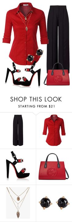 """""""EVE"""" by evelina-er ❤ liked on Polyvore featuring Miss Selfridge, LE3NO, Christian Louboutin, Gucci and Irene Neuwirth"""