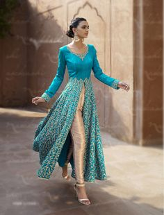Blue Bhagalpuri Designer Anarkali Suit 67963 Omg! I want this!