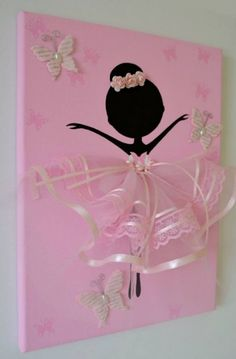 Dancing Ballerina with Butterflies handmade canvas. This wall art canvas is 9 X The background, butterflies and ballerina is hand painted with acrylic paint. Dancer is decorated with tulle dress, lace, silk ribbons, crafted butterflies and rozes. Diy And Crafts, Crafts For Kids, Arts And Crafts, Paper Crafts, Ballerina Silhouette, Diy Snowman, Snowman Hat, Snowman Ornaments, Diy Art
