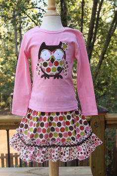 Girls Owl Applique Shirt...Ready for Delivery...Available in Size 18m, 2, 4, 6 and 8. $26.00, via Etsy.