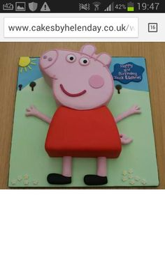 Peppa Pig, cake inspiration for sages birthday ^_^ Bolo Da Peppa Pig, Cumple Peppa Pig, Peppa Pig Birthday Cake, Peppa Pig Cakes, Pig Party, Girl Cakes, Cake Girls, 2nd Birthday Parties, Birthday Ideas