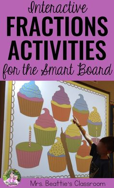 Interactive Fractions of a Set Activities with Worksheets Integers Activities, Fraction Activities, Math Games For Kids, Fun Math Activities, Math Resources, Classroom Resources, Student Learning, Teaching Math, Fun Learning