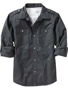 Boys Long-Sleeve Utility Shirts Preston ? but got him a Green sweater .. like this shirt 2