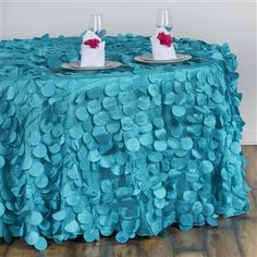 Raised Petals on Taffeta Round Tablecloth - Turquoise from Balsa Circle. Tablecloth Sizes, Tablecloths, Romantic Weddings, Unique Weddings, Amazing Weddings, Wedding Catering Near Me, Wedding Venues, Bridal Table, Diy