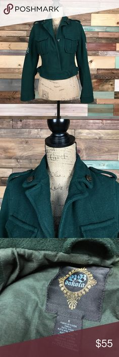 """BB Dakota Army Green Military Style Crop Jacket S BB Dakota Army Green Military Style Crop Jacket S  // Bust: 17"""" laying flat // Length: 19"""" Bundle your likes and make an offer for best deals @woodsnap! BB Dakota Jackets & Coats"""