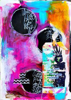 journal page w/ black gesso - Dina Wakley
