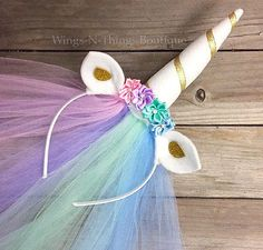 CELESTIA UNICORN HORN HEADBAND w/ Veil Pony Princess Toddler Child Gold Costume