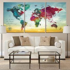 Large Wall Art World Map Canvas Print, Watercolor World Map Travel Canvas Print, World Map Push Pin Travel Map, World Map Wall Art Canvas Large Canvas Art, Large Wall Art, Canvas Wall Art, Wall Art Prints, Canvas Prints, World Map Canvas, World Map Wall Art, Art World, World Map Travel
