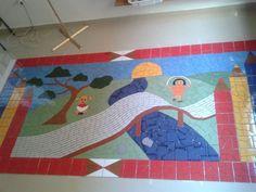 Painel em cerâmica instalado em creche (CEPI) da secretaria de educação do Distrito Federal. dimensões: 1,40m x 2,80m
