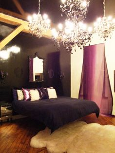 Black and Purple bedroom. *I don't love that white rug, and I'd do darker curtains too.*