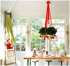 A striking wreath idea! Hang from the ceiling and decorate with dangling Christmas ornaments.
