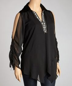 Take a look at this Black Semi-Sheer V-Neck Cutout Top - Plus by Madison Paige on #zulily today!
