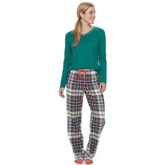 Women's SONOMA Goods for Life™ Pajamas: Top, Pants & Socks 3-Piece PJ Set, Size: M Long, Dark Green