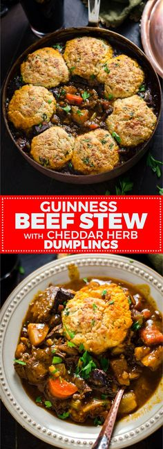 Beef Stew with Cheddar Herb Dumplings Guinness Beef Stew with Cheddar Herb Dumplings. Rich, comforting, and deeply flavorful. Irish Recipes, Meat Recipes, Dinner Recipes, Cooking Recipes, Beef Stew Recipes, Stewing Beef Recipes, Beef Stew With Dumplings, Guinness Beef Stew, Guinness Recipes