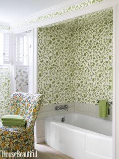 Green with Envy, green, Kathryn Ireland wallpaper, guest bathroom