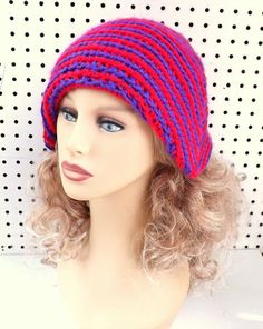 Purple Crochet Hat Red Crochet Hat Womens Hat Striped Cloche Hat Purple Hat Red Hat Ready To Ship POINTY by strawberrycouture by #strawberrycouture on #Etsy