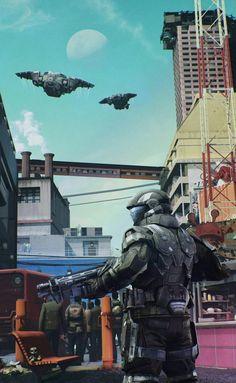 Odst on duty Halo 3 Odst, Halo 5, Halo Reach, Armor Concept, Concept Art, Video Game Art, Video Games, Cyberpunk, Gundam