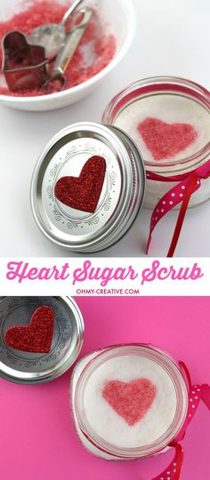 This Heart Sugar Scrub Recipe is Perfect for Valentine's Day, Weddings and Showers! A Valentine's day gift made with essential oils it is all natural and perfect for your sweetheart or friends! | http://OHMY-CREATIVE.COM