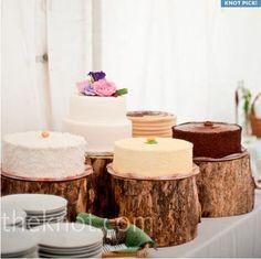 Wedding cake-display on wooden stumps