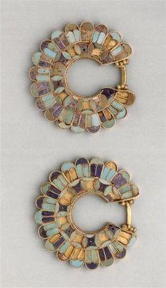 cloisonné earrings, susa acropolis 400 b.c. gold, lapis lazuli, turquoise. achaemenid persian period. by lucinda