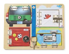 Amazon.com: Melissa & Doug Locks and Latches Board Wooden Educational Toy: Melissa & Doug: Toys & Games