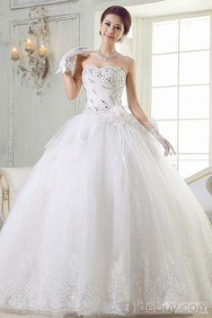 プリンセスライン スウィートハート ロング レース & フラワー ウェディングドレス