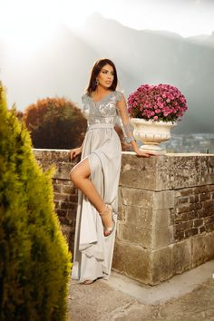Rochie lunga gri cu dantela la bust Rn 2111 Atmosphere Fashion, Gray Dress, Formal, Dresses, Style, Preppy, Vestidos, Swag, Grey Dresses