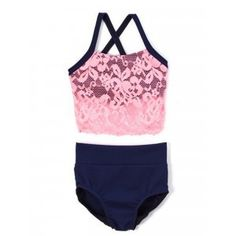 Elliewear Big Girls Navy Pink Lace Overlay Top Brief 2 Pc Dance Set Navy Pink, Pink Lace, Gymnastics Wear, Vintage Style Outfits, Lace Overlay, Crop Tank, Short Girls, Navy Tops, Fashion Brands
