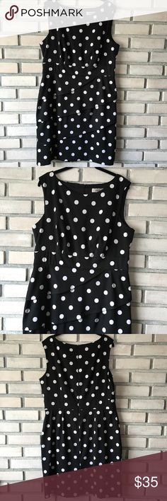 Dress Barn Polka Dot Dress Size 16 Classic and chic!  Worn once!  Flattering layered skirt, Tank style top.  No flaws, excellent condition. Dress Barn Dresses