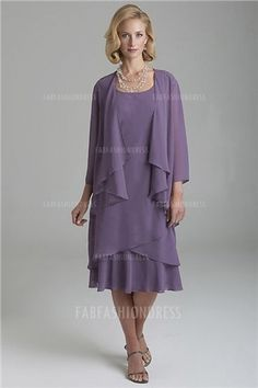 Sheath/Column Scoop Tea-length Chiffon Mother of the Bride Dress