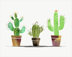 Cactus watercolor print Southwest art Desert art Wall by colorZen Cactus House Plants, Cactus Art, Cactus Flower, Flower Art, Cactus Decor, Watercolor Cactus, Watercolor Print, Watercolor Paintings, Watercolours