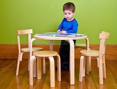 Table and Chair Set (Nursery & Room Decor). A beautifully designed five piece kids furniture set which includes a table, two chairs and two stools. The Mocka Wooden Table & Chair Set is a fabulous design and built to last. The seats and Kids Table Chair Set, Wooden Table And Chairs, Kids Stool, Kid Table, Kids Furniture Sets, Modern Kids Furniture, Affordable Furniture, Modern Chairs, Wooden Furniture