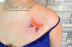 Watercolor Butterfly Tattoo.  Tattooed by javiwolfink  www.facebook.com/javiwolfink