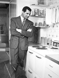 """Cary Grant on the set of """"Mr. Blandings Builds His Dream House"""", (1948)."""