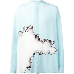 Haider Ackermann oversized printed shirt (33.394.480 VND) ❤ liked on Polyvore featuring men's fashion, men's clothing, men's shirts, men's casual shirts, blue, mens blue silk shirt, mens blue shirt, mens french cuff shirts and mens short sleeve silk shirts