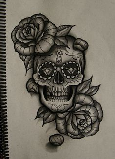 Skull and roses by frah on deviantART