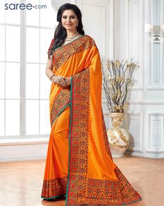 ORANGE ART SILK SAREE WITH EMBROIDERY WORK