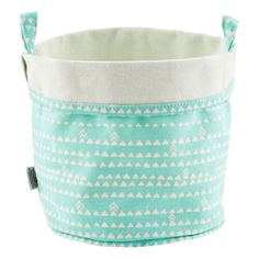 Fabric Bucket Triangles Blue