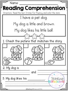 FREE Read and Match Reading Comprehension For Beginning Readers Set 2
