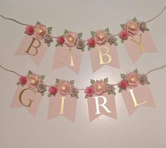 PERSONALIZED FLORAL BANNER with blush paper flower peonies, baby shower gift, nursery sign, custom name banner, Shabby Chic wedding - Baby shower themes - Baby Shower Floral, Deco Baby Shower, Baby Girl Shower Themes, Baby Shower Flowers, Girl Baby Shower Decorations, Shabby Chic Baby Shower, Baby Shower Gifts, Baby Shower Banners, Baby Shower For Girls