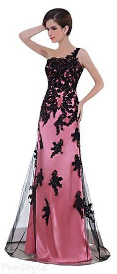 Sunvary 2015 Watermelon Satin & Black Lace Formal Dress