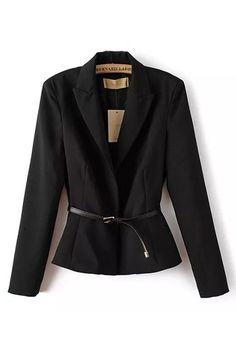 Black Lapel Long Sleeves Blazer With Belt