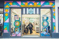 Supermundane sends out a message of inclusivity with shopfront mural for london's creative-led souvenir store. Shop Interior Design, Retail Design, Store Design, Retail Facade, Shop Facade, Vitrine Design, We Built This City, Entrance Design, Main Entrance