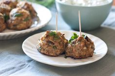 Mediterranean Turkey Meatballs. Sounds like a good way to balance low-carb with not having too much beef. Now if only more stores here carried ground turkey....