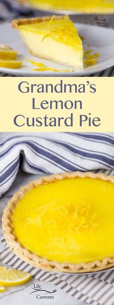 Grandma's Lemon Custard Pie with Lemon Curd Topping is a creamy lightly lemon custard pie with a nice tart lemon curd topping.