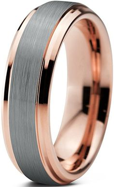 Tungsten Wedding Band Ring 6mm for Men Women Comfort Fit 18K Rose Gold Plated Plated Beveled Edge Brushed Polished