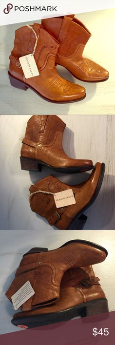 "Franco Sarto Leather Ankle Boots Beautiful genuine leather cowboy inspired booties. Camel brown. Approx 1"" heel. Rubber sole. Size 5.5 run TTS. New with tag. Franco Sarto Shoes Ankle Boots & Booties"
