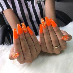 Orange nails with gold flakes Bright Orange Nails, Orange Acrylic Nails, Summer Acrylic Nails, Best Acrylic Nails, Summer Nails, Orange Nail Designs, Acrylic Nail Designs, Neon Nails, Gold Nails