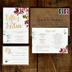 Personalised hand lettered wedding invitation set featuring an original…